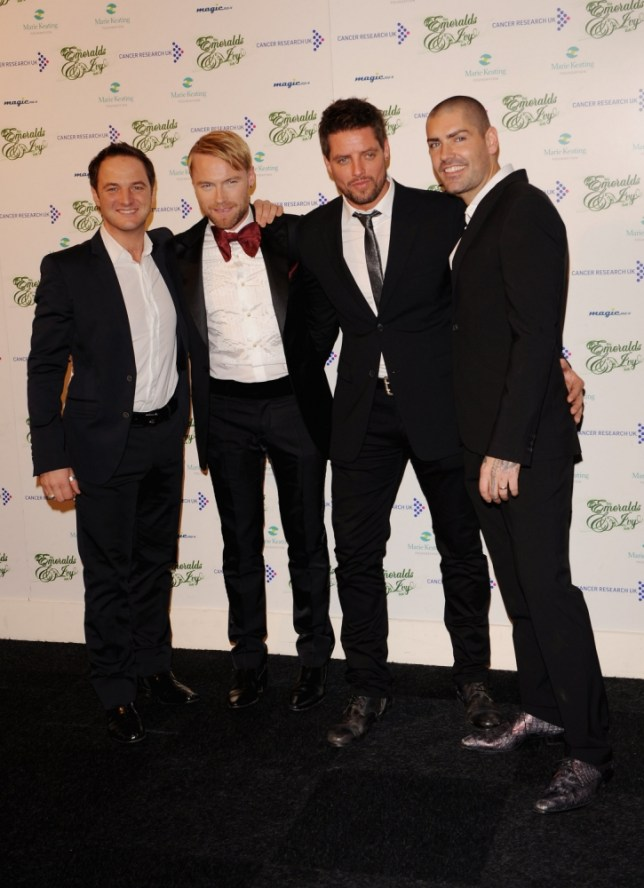 Mikey Graham, Ronan Keating, Keith Duffy and Shane Lynch from Boyzone attend the Emeralds and Ivy Ball at Battersea Evolution on November 21, 2009 in London, England.    LONDON, ENGLAND - NOVEMBER 21:  (Photo by Ian Gavan/Getty Images)