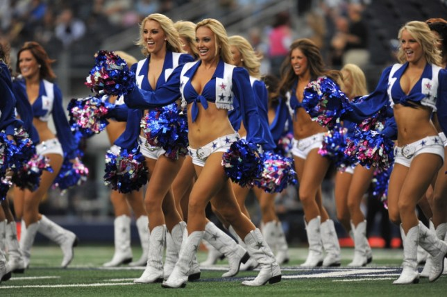 The Dallas Cowboys cheerleaders cheer during the game against the Jacksonville Jaguars at Cowboys Stadium on October 31, 2010 in Arlington, Texas. The Jaguars defeated the Cowboys 35-17.    ARLINGTON, TX - OCTOBER 31:   (Photo by Larry French/Getty Images)