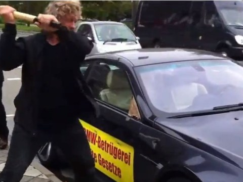 Man smashes up his own £100,000 BMW M6 with a sledgehammer in protest about car's reliability