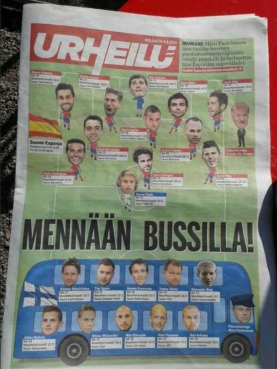 Finnish newspaper Urheilu made their tactics very clear (Picture: Urheilu)