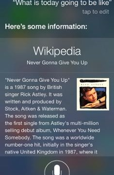 Apple's voice recognition service Siri 'Rickrolls' iOS 7 users