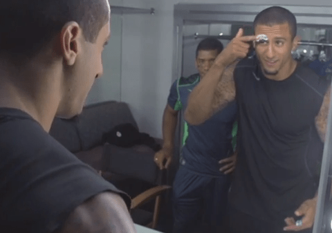 San Francisco 49ers' Colin Kaepernick shaves eyebrow after losing to Seattle Seahawks and losing bet to Russell Wilson