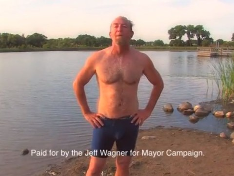 Mayoral candidate emerges from lake drinking coffee in viral campaign video