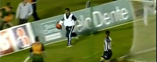 Leg it! The naughty physio makes his escape (Picture: YouTube)