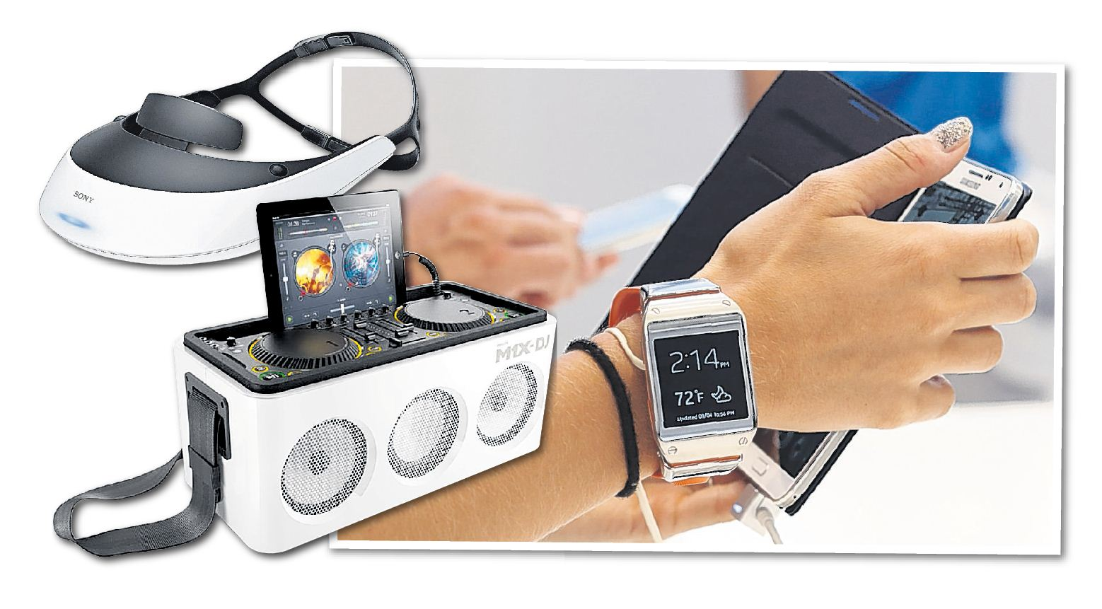 The gadgets on show at IFA Berlin include Samsung Galaxy Gear, M1x-DJ, Galaxy Note and Sony HMZ-T3 (Picture: supplied)