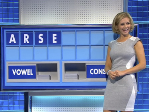 Countdown gets cheeky: Strictly Come Dancing star Rachel Riley stifles giggles after spelling out 'arse'