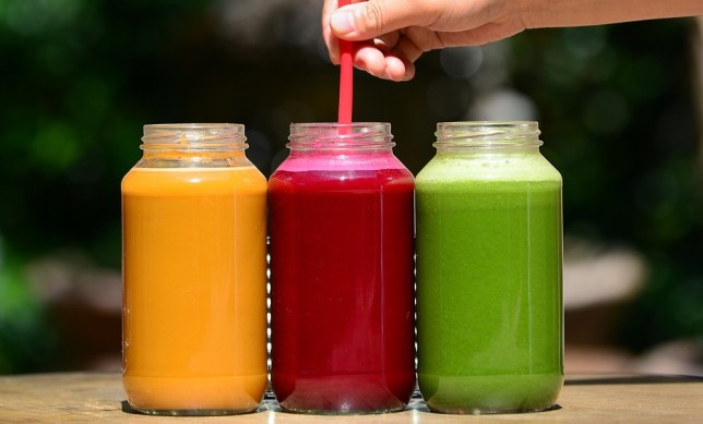 Freshly made juices are displayed at the Silver Lake Juice Bar on September 17, 2013 in the Silver Lake district of Los Angeles, California. In the past two to three years Juice Bars have been growing in popularity and juice cleansing has become a 5 billion dollar industry nationwide, appealing to those who want to lose weight and 'detox' their bodies. From left to right are: (L) 'J Bates', which contains oranges, green apples, ginger, carrots and kale; (C) 'The Rejuvenator', which contains green apples, lemon, ginger and beets; and (R) the 'Green Giant', which contains cucumber, lemon, celery, spinach and kale. AFP/Getty Images