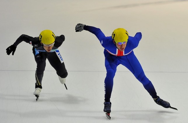 Jon Eley of Britain, right, in action during the semi-finals of the men's 5,000m relay in Seoul (Picture: AFP/Getty Images)