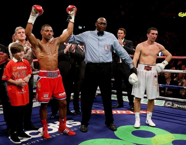 SHEFFIELD, ENGLAND - OCTOBER 26: Kell Brook celebrates his victory over Vyacheslav Senchenko during their Final Eliminator for the IBF World Welterweight Championship bout at Motorpoint Arena on October 26, 2013 in Sheffield, England. Getty Images