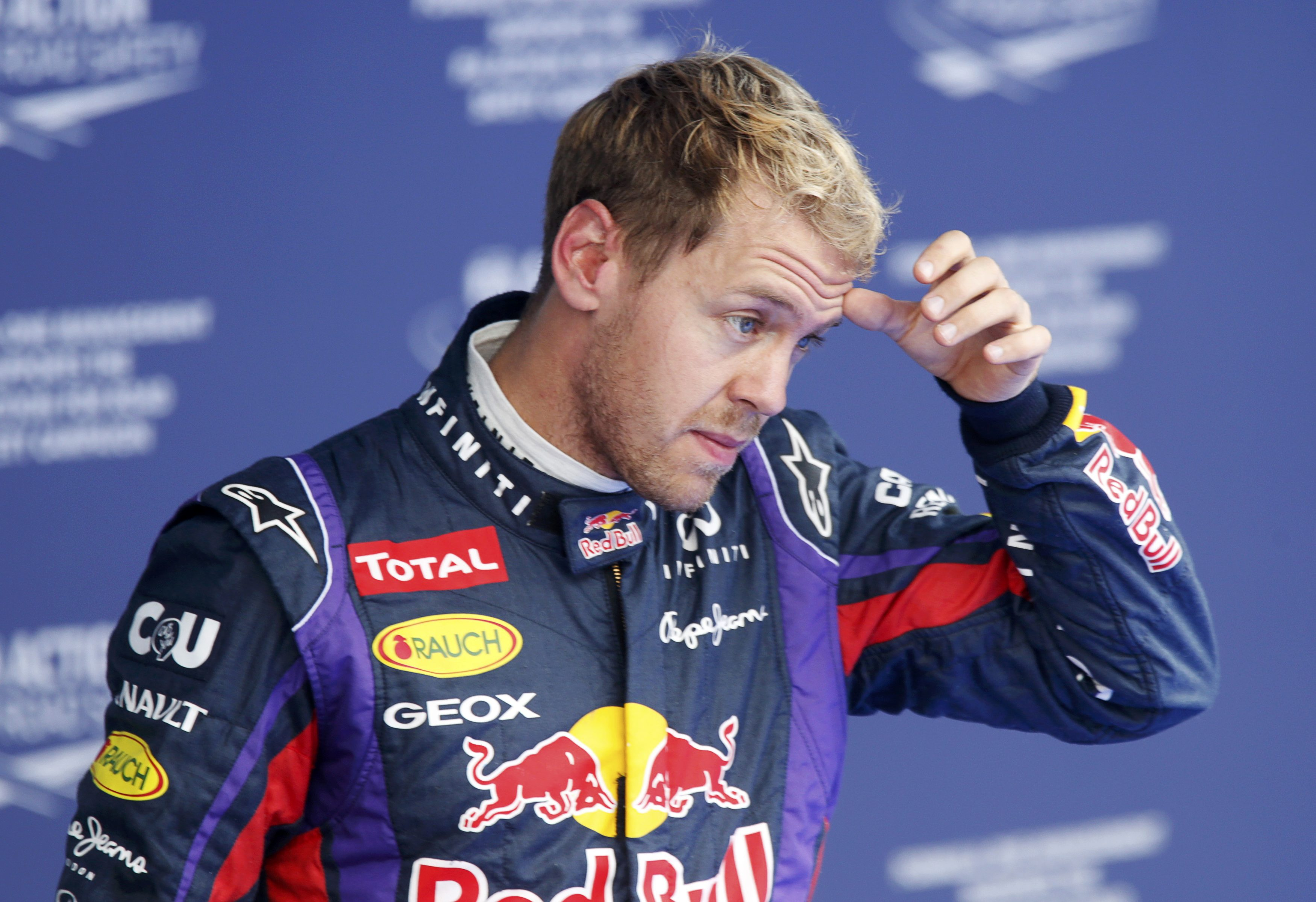 Red Bull Formula One driver Vettel reacts after the qualifying session for the Korean F1 Grand Prix in Yeongam