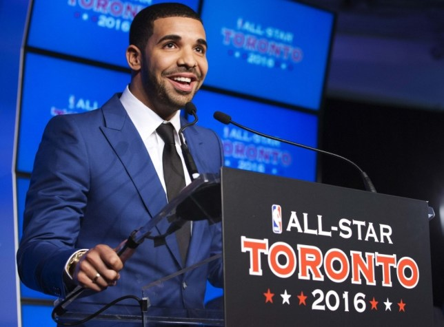 Rapper Drake speaks during an announcement that the Toronto Raptors will host the NBA All-Star game in Toronto September 30, 2013. Toronto was selected as the host of the National Basketball Association's (NBA) 2016 All-Star Game, marking the first time the showcase event will be held outside of the United States, the league said on Monday. REUTERS/Mark Blinch (CANADA - Tags: SPORT BASKETBALL ENTERTAINMENT)