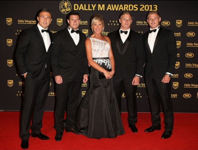 SYDNEY, AUSTRALIA - OCTOBER 01:  (L-R) Sam Burgess, Luke Burgess, Julie Burgess, George Burgess and Thomas Burgess arrive ahead of the 2013 Dally M Awards at Star City on October 1, 2013 in Sydney, Australia.  (Photo by Mark Metcalfe/Getty Images)