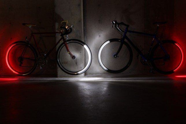 "James Dyson Award 2013 USA_Revolights 3. USA - Revolights Kent Frankovich  Problem: Cyclists are at risk of serious injury if they are not seen by other vehicles on the road.  Bike lights are often small and can be easily stolen if left on the bike.   Solution: Revolights are a series of LED rings which are clipped onto a bike's existing rims. The lights in the wheels are powered by hub-mounted lithium-ion battery packs. A fork-mounted magnet works with an integrated accelerometer, to determine when the lights should be illuminated. The result is that the front half of the front rim shines a brilliant white while the back half of the rear rim gives off a bright red glow.  Watch the video explaining the technology here.    ""Combining the magnet and an integrated accelerometer, Revolights provides speed and orientation data to the rings.  It's a  clever way to save energy, as the rings know when to illuminate.  I'd use it on my bike!"" - Jeremy, Senior design engineer at Dyson"