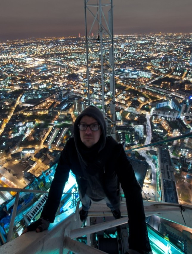 Bradley Garrett scaled The Shard   while it was a building site in search of a thrilling view (Picture: Bradley Garrett)