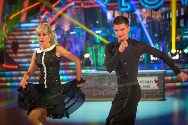 Abbey Clancy and Aljaz Skorjanec performing during rehearsals for the BBC programme Strictly Come Dancing. (Picture: PA)