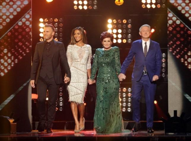 Gary Barlow, NIcole SCherzinger, SHaron Osbourne, Louis Walsh on The X Factor