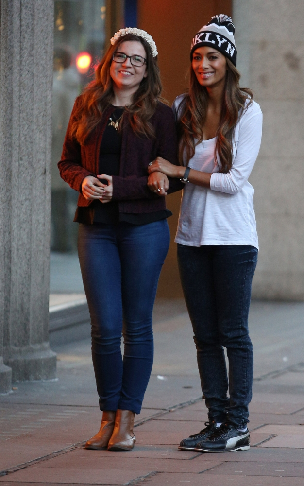 Nicole Scherzinger and her X Factor girl Abi Alton go bowling – after shopping with Hannah Barrett