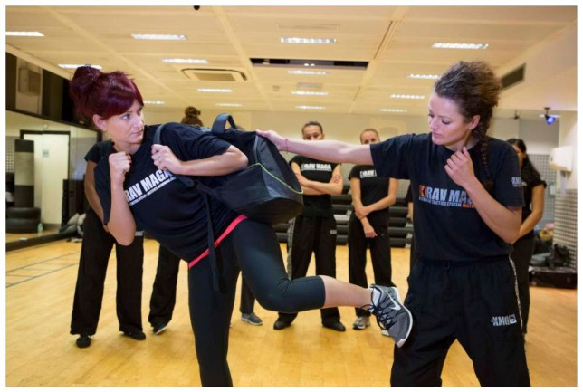 Vicki-Marie Cossar practises Krav Maga with instructor Magdalena Nikitczuk (Picture: Gretel Ensignia)