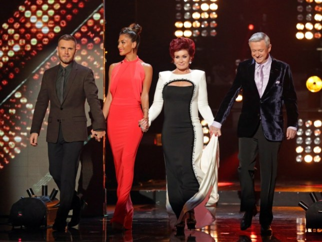 **EMBARGO - NOT FOR PUBLICATION BEFORE 20:00hrs 19th OCT 2013** EDITORIAL USE ONLY - NO MERCHANDISING - NO BOOK PUBLISHING     Mandatory Credit: Photo by REX/Tom Dymond/Thames (3211013cm)  Judges - Louis Walsh, Sharon Osbourne, Gary Barlow and Nicole Scherzinger  'The X Factor' TV show, London, Britain - 19 Oct 2013