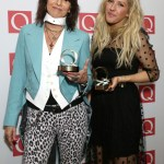Chrissie Hynde with her Classic Songwriter Award and Ellie Goulding with her Best Solo Act Award at the Q Awards, at Grosvenor House Hotel, Park Lane, central London. PRESS ASSOCIATION Photo. Picture date: Monday October 21, 2013. Photo credit should read: Yui Mok/PA Wire