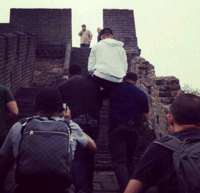 Uplifting: Justin Bieber was given a lift to the top of the Great Wall of China (Picture: BelieveTourUPD Twitter)