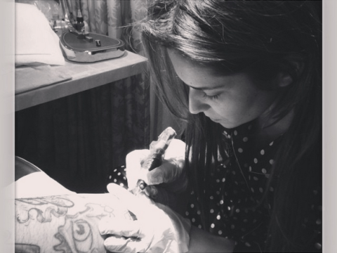 Looking for a new job? Cheryl Cole turns the needle on her tattoo artist Nikki Hurtado