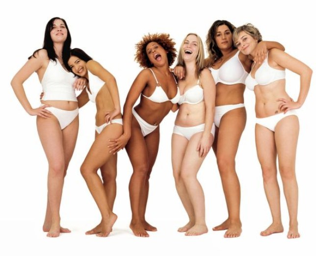 Womne in underwear. Dove advertising campaign