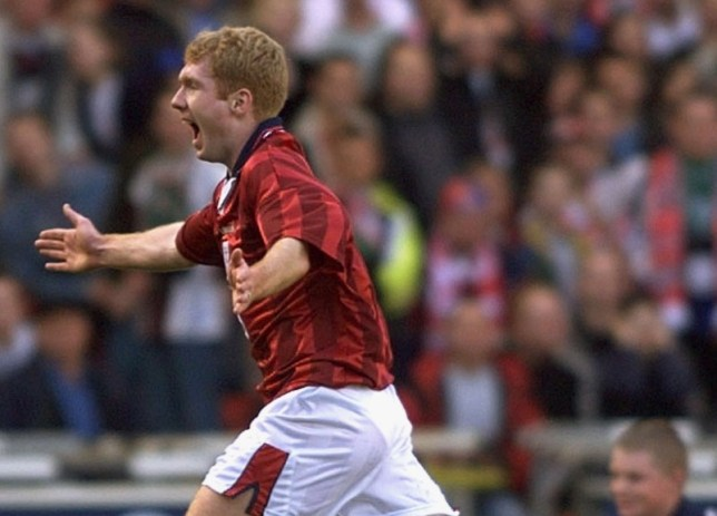 ENGLAND'S SCHOLES CELEBRATES AT WEMBLEY...WMB04D:SPORT-SOCCER:LONDON,27MAR99 - England's Paul Scholes celebrates scoring against Poland during their Euro 2000 qualifyng match at Wembley stadium March 27.   as/Photo by Russell Boyce   REUTERS...S...SOC SPO