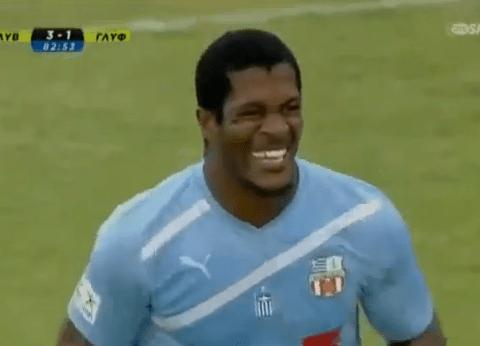Quick-fire red card causes laughter, not misery for Gylfadas striker Serge Djiehoua – video