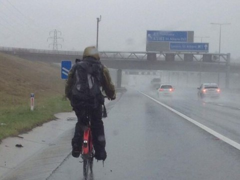 Police brand cyclist a 'dummy' after having to escort him from hard shoulder of M1