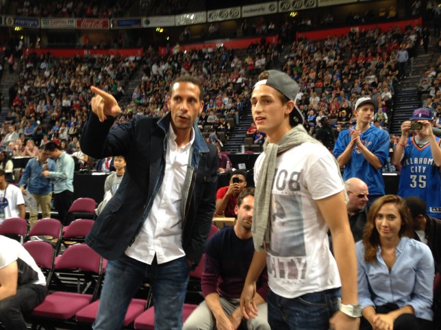 Rio Ferdinand and Adnan Januzaj at the NBA game in Manchester