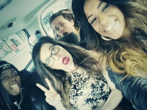 X Factor's Hannah Barrett, Tamera Foster, Abi Alton and Luke Friend hit the shops on break from rehearsals