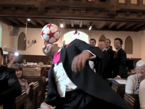 Football mad groom upstages bride by doing football skills down the aisle