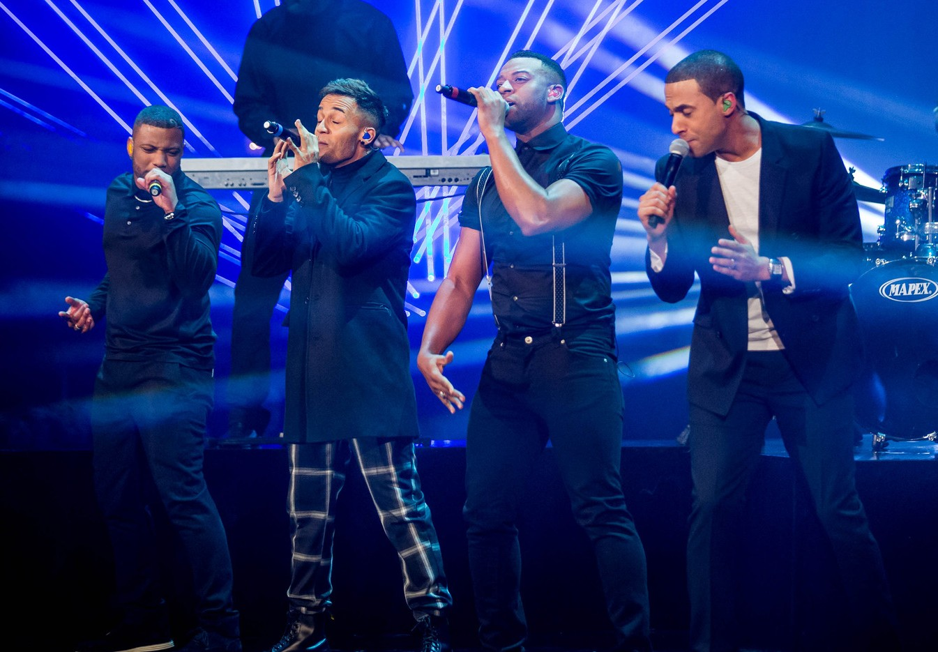 JLS perform during the show's special from Blackpool (Picture: BBC)