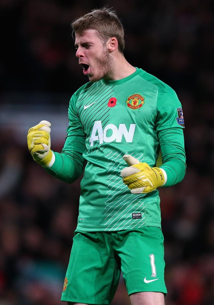 MANCHESTER, ENGLAND - NOVEMBER 10: David De Gea of Manchester United celebrates the opening goal during the Barclays Premier League match between Manchester United and Arsenal at Old Trafford on November 10, 2013 in Manchester, England. Alex Livesey/Getty Images