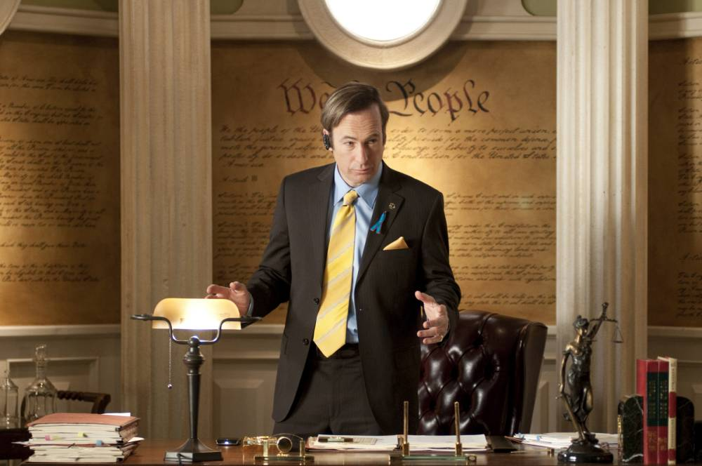 """Television programme: Breaking Bad featuring Bob Odenkirk as lawyer Saul Goodman.    This image released by AMC shows shady lawyer Saul Goodman, played by Bob Odenkirk, in a scene from the fourth season of """"Breaking Bad."""" The series finale of the popular drama series airs on Sunday, Sept. 29. (AP Photo/AMC, Ursula Coyote)"""
