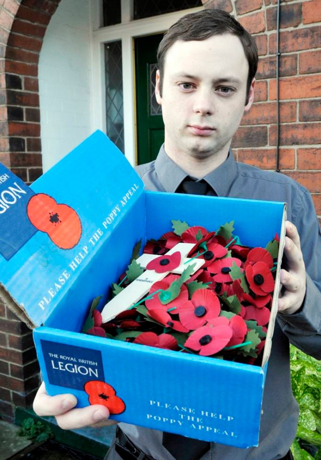 Daniel Orrell wants to show how sorry he is for urinating on Bolton's war memorial by selling poppies for the Royal British Legion (Picture: Cascade News)