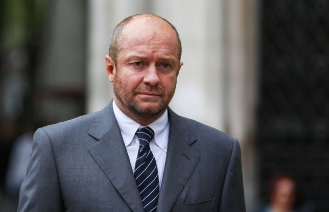 """01 Nov 2013 --- Scott Young at the High Court in London on November 01. 2013. Michelle Young, 49, estimated that her husband Scot Young, 51, was worth """"a few billion at least"""" and told a judge in London that she would settle for """"£300 million"""" plus legal expenses. Photo Ki Price --- Image by © Ki Price/Corbis"""