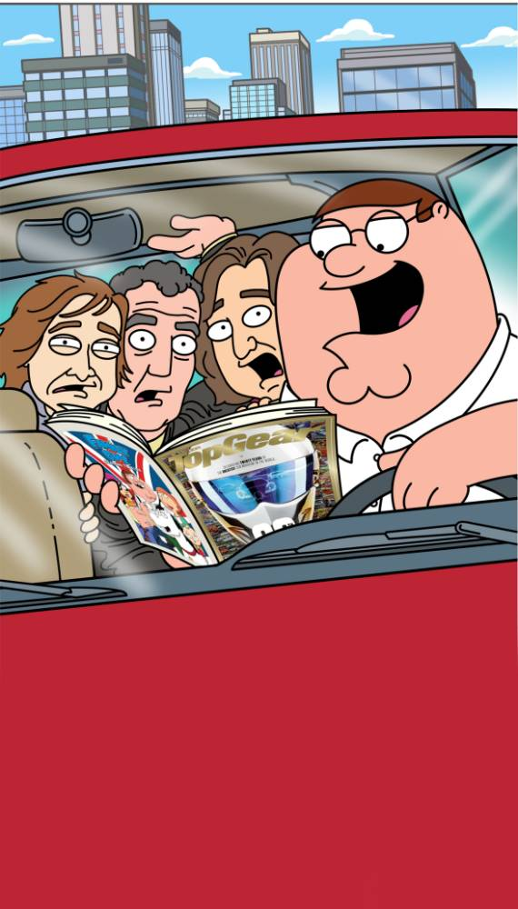Top Gear does Peter Griffin: Jeremy Clarkson, Richard Hammond and James May get Family Guy makeovers