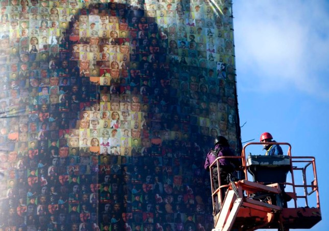 Giant Mona Lisa in Clapham Common made from dozens of painted selfies