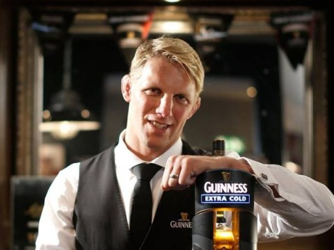 Lewis Moody preparing to pull pints for punters at Twickenham
