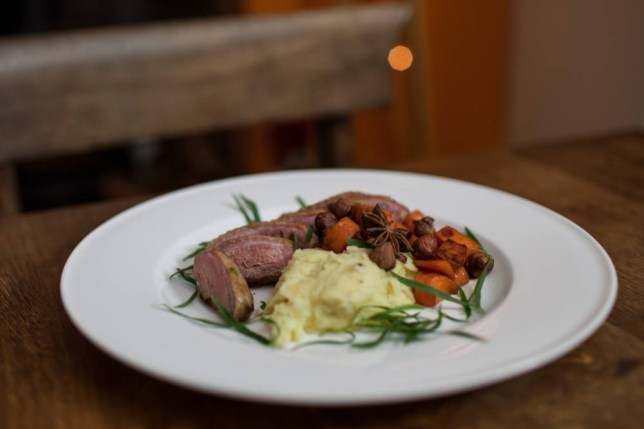 Duck breast and hazelnuts with mash (Picture: Oli Jones)