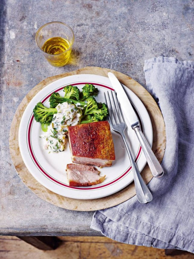 Crisp, succulent pork belly with gherkin and shallot dressing (Picture: Peter Cassidy)