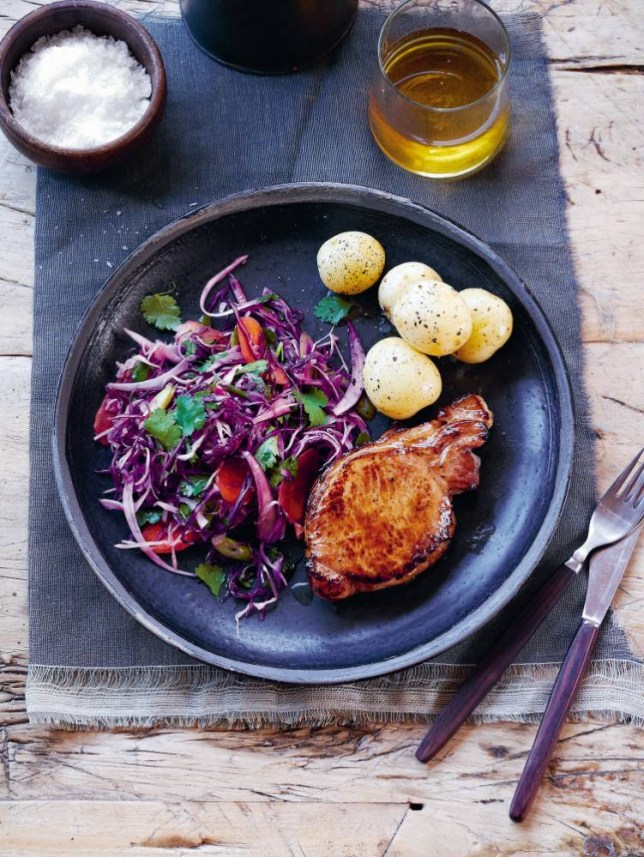 Juicy pork cutlets with warm winter coleslaw (Picture: Peter Cassidy)