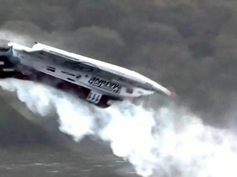 Powerboat racer cheats death after 130mph crash