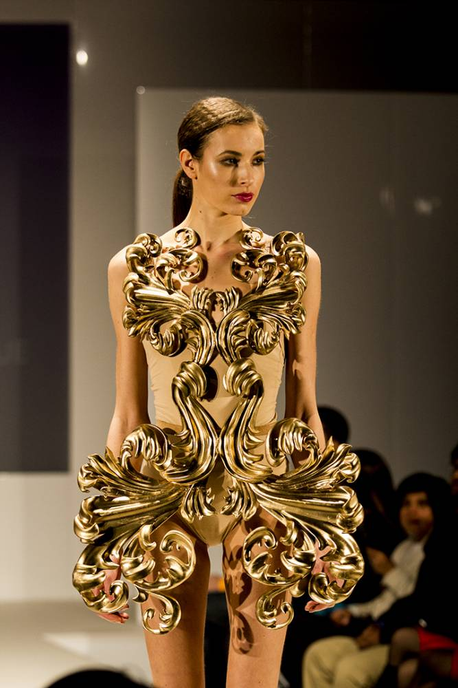 Pia Hinze's gold Neobaroque dress was made with a 3D printer. It took 40 hours to make in eight parts (Picture: supplied)