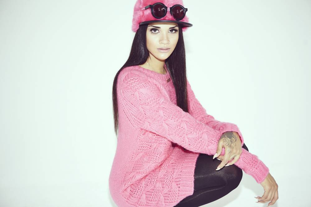 Singer Phlo Finister models River Island's Christmas Chelsea Girl collection (Picture: supplied)