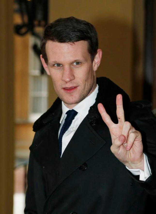 Actor Matt Smith, the eleventh incarnation of the Doctor role in the British television series Doctor Who, arrives for a reception, hosted by the Countess of Wessex, at Buckingham Palace, to mark the 50th anniversary of Doctor Who. PRESS ASSOCIATION Photo. Picture date: Monday November 18, 2013. Four Time Lords in total - Matt Smith, Tom Baker, Peter Davison and John Hurt - were in attendance at the event. Props from the show, including two versions of the Tardis, a pair of Daleks and K-9 the robot dog, were set up in the Palace's Bow Room.  See PA story ROYAL DoctorWho. Photo credit should read: Lefteris Pitarakis/PA Wire
