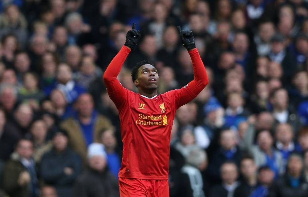 LIVERPOOL, ENGLAND - NOVEMBER 23:  Daniel Sturridge of Liverpool celebrates scoring his team's third goal during the Barclays Premier League match between Everton and Liverpool at Goodison Park on November 23, 2013 in Liverpool, England.  (Photo by Clive Brunskill/Getty Images)