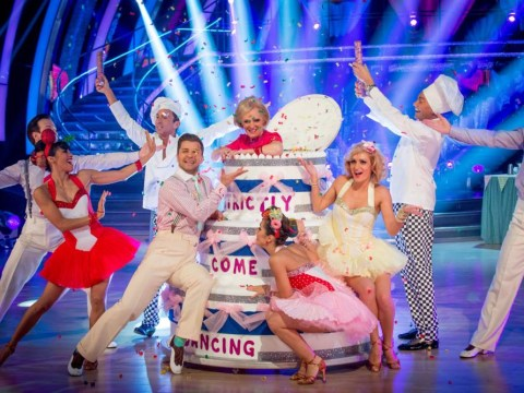 Strictly Come Dancing sees Great British Bake Off host Mary Berry pop out of a giant cake